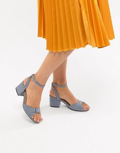 Stripe Block Heel Sandals - Blue