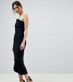 One Shoulder Dress With Asymetric Hem - Black