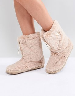 Marilyn Short Faux Fur Slipper Boot - Pink