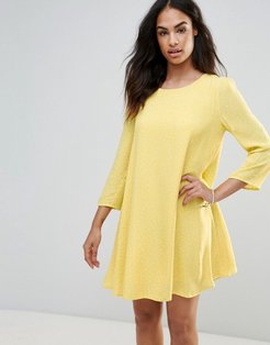 Swing Dress With Puff Sleeves - Yellow