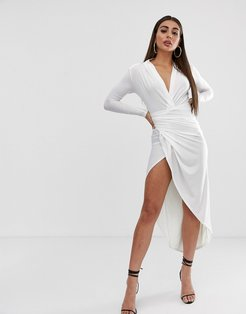 plunge front ruched maxi dress in white