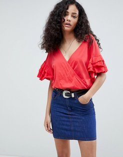 Wrap Top With Ruffle Sleeve - Red