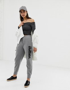 boyfriend joggers with embroidered logo - Gray
