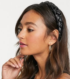 leather look plaited wide headband in black