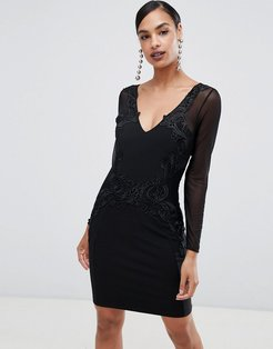 long sleeve lace trim bodycon dress
