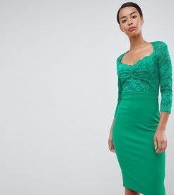 3/4 Sleeve Lace Midi Dress - Green