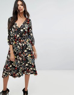 Floral Wrap Midi Dress With Tie Sleeve Detail - Multi