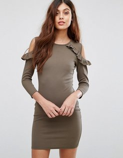 Cold Shoulder Dress With Frill Detail - Green