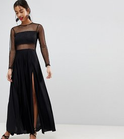 Pleated Dobby & Lace Top Long Sleeve Maxi Dress - Black