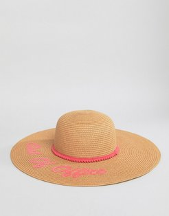 Floppy Beach Hat With Out Of Office Slogan - Stone