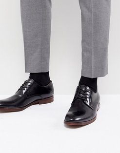 Yilaven Leather Derby Shoes In Black - Black