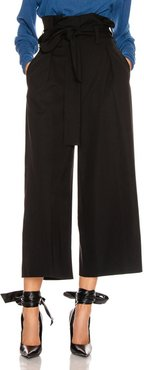 Maggie Light Wool Tie Tailored Pant in Black