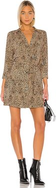 Leopard Muse Patch Pocket Shirt Dress in Brown. - size XXS (also in L,M,S,XS)