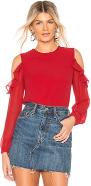Naya Ruffle Shoulder Blouse in Red. - size XXS (also in XS)