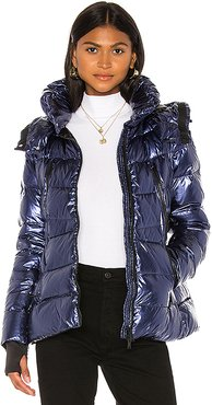 Down Jacket With Detachable Hood in Blue. - size 38 (also in 40,42,44)