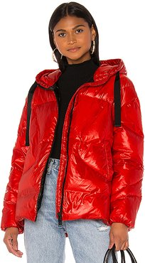 Oversized Hooded Down Jacket in Red. - size 42 (also in 38,40,44)