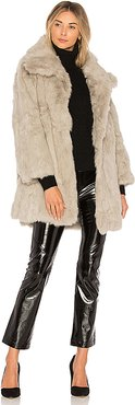 Textured Rabbit Fur Coat in Gray. - size M-L (also in S-M)