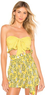 x REVOLVE Marie Tie Front Top in Yellow. - size L (also in S,XS)