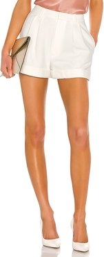 Conry Pleated Cuff Short in White. - size 8 (also in 0,2,4)