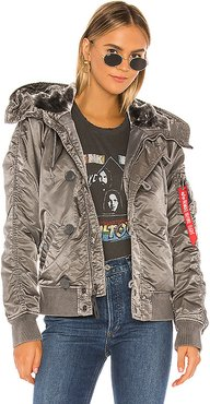 N-2B Battlewash Parka With Faux Fur in Charcoal. - size S (also in XS,M)