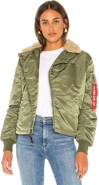B-15 Straight Hem Mod Jacket With Faux Fur in Olive. - size L (also in XS,S,M)