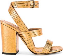 Stitched Mignon Block Heel in Metallic Bronze. - size 36 (also in 36.5,37)