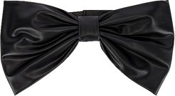 Faux Leather Bow Belt in Black. - size M (also in L,S,XS)