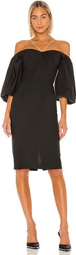 Off Shoulder Puff Sleeve Crystal Chain Detail Dress in Black. - size XS (also in M,S)