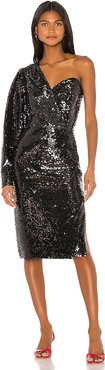 One Shoulder Sequin Dress in Black. - size L (also in M,S,XS)