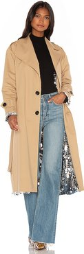 Sparkly Silver Double Sided Trench Coat in Tan. - size M (also in L,S,XS)