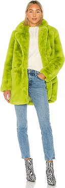 Sophie Faux Fur Coat in Green. - size L (also in M,S,XS)