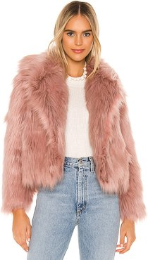 Adair Faux Fur Jacket in Pink. - size S (also in M,XS)
