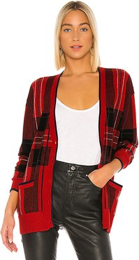 Plaid Boyfriend Cardigan in Red. - size M (also in XS,S)