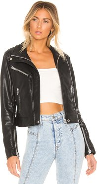Essentials Faux Leather Jacket in Black. - size L (also in XS)