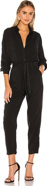 Dolman Sleeve Jumpsuit With Satin Trim in Black. - size M (also in S,XS,L)