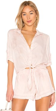 Tie Front Button Down Top in Pink. - size XS (also in L)
