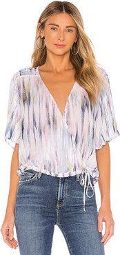 Flutter Sleeve Smocked Top in White. - size L (also in S,XS,M)