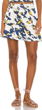 Hailee Tiered Mini Skirt in Blue. - size L (also in XS,S,M)