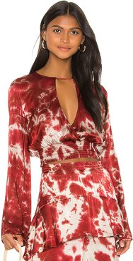 Claudia Keyhole Blouse in Red. - size S (also in XS,M,L)