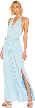 Draped Modal Jersey Maxi Dress in Baby Blue. - size L (also in M,XS)