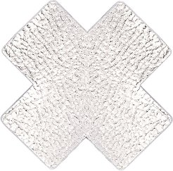 Silver Leather Cross in Metallic Silver. - size C (also in B)