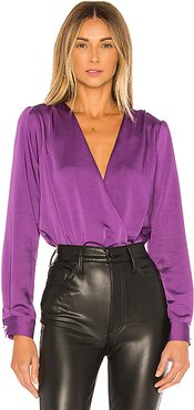 X REVOLVE Surplice Bodysuit in Purple. - size XS (also in S,M,L)