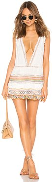 Multi Macrame and Fringe Dress in White. - size M (also in L,S)