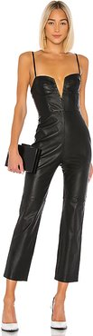 Zofia Leather Jumpsuit in Black. - size XL (also in L)