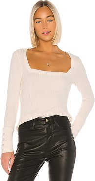 Square Neck Long Sleeve Tee in Taupe. - size XS (also in L,M,S)