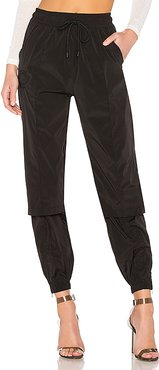 Nylon Zipper Vent Track Pant in Black. - size M (also in XS)