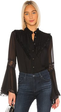 Bib Blouse in Black. - size L (also in XS,S,M)