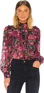 Bib Front Ruffle Blouse in Pink. - size S (also in XS,M,L)
