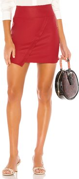 X REVOLVE Vegan Leather Wrap Skirt in Red. - size M (also in S,XS,L)