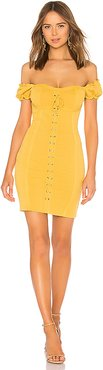 Lace Up Corset Dress in Mustard. - size S (also in L,M)